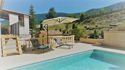 Photo for Villa private pool in July facing the lavender fields