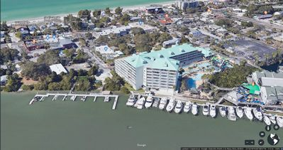 Ariel view of property, marina, intracoastal and gulf beaches