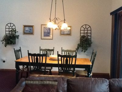 Enjoy a family meal at our family dining room table.