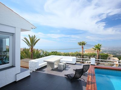Photo for Stunning private villa for 6 guests with A/C, private pool, WIFI, TV and parking