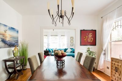 A formal dining area seats six comfortably