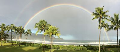 Morning Hanalei rainbows, as seen from front yard.