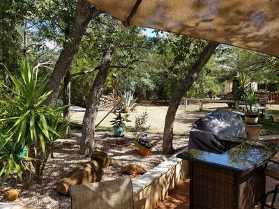 Cooking under the trees by the pool