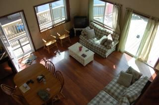 View of living area from the loft