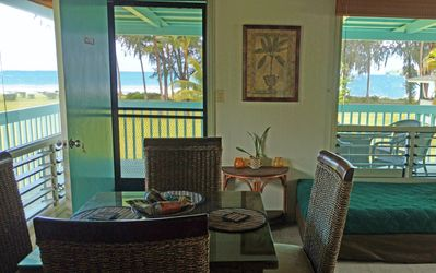 Dining table in Na Hoku  with Hanalei Bay view