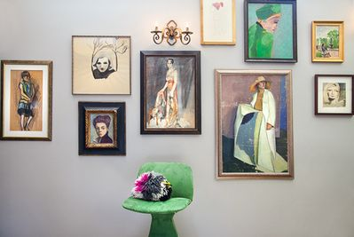 Welcome to Art House. Living room. Mix of vintage and modern artwork.