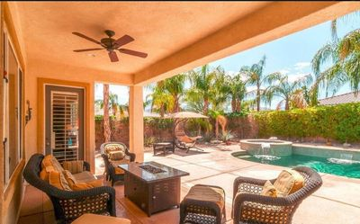 Enjoy the view lounging on the patio furniture with fire pit.