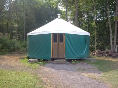 Photo for Yurt on private, mountain farm with goats, highland cows, sheep and trout stream