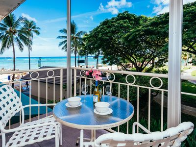 Photo for Ocean View Beachfront Waikiki Shore Condo with Full Kitchen