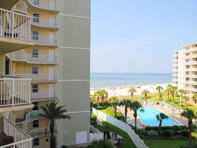 Photo for ALL SPRING RATES REDUCED BY 20%. BOOK FAST. TW 408  Beautiful 1BD/2BA Condo with great view located right on the beach, across from restaurants and arcade.  Quote comes with one parking pass.