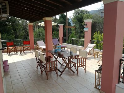 Photo for Villa Valia Seaside (Ipsos bay-Corfu-estate-beach level-super comfortable villa)