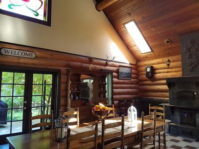 Photo for Log house lodge situated on a forested lot, peace, tranquility, country setting.