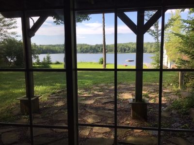 View of lake from downstairs rec room