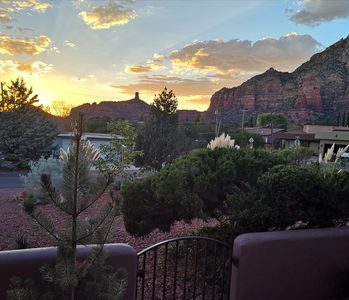 Sunset behind chimney rock from the front porch.
