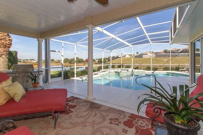 View from covered lanai to the very private oversized pool and spa.