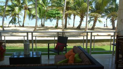This is our terrace.   Just sand, palm trees and ocean in front of you!