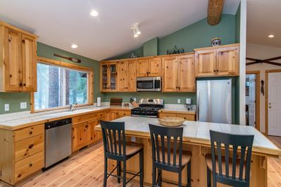 Kitchen - The stylish all-pine kitchen makes an inviting place to cook.