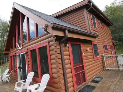Photo for 2 Miles to Snowshoe Secluded 3BR Log Cabin on 9 acres Hot Tub  Waterfall