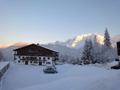 Photo for THE BETTEX 1450m Near the slopes 2 rooms 2/6 people, Lounge overlooking Mont Blanc