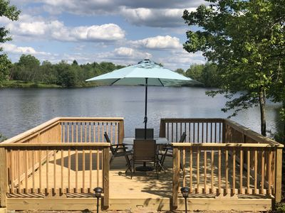 Photo for Poconos lake home front with pool/tennis/games tables near Kalahari water park
