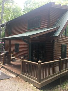 Photo for Secluded log cabin with river access