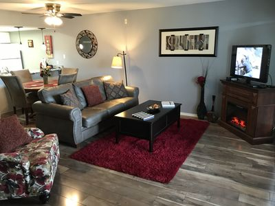 "Photo for Mayfield's Comfortable Condo, Bubble Tub, WIFI, 1 King- 2 Queen Beds, Near "" The Strip"" (Club A-4)"