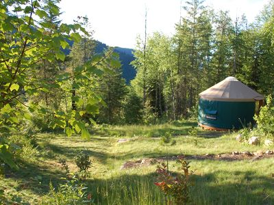 Photo for Mountain View Yurt with full kitchen, bathroom, hiking (Green Yurt, sleeps 3)