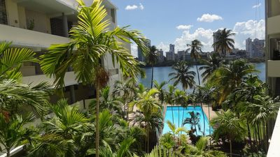 View to the swimming pool and to the lagoon
