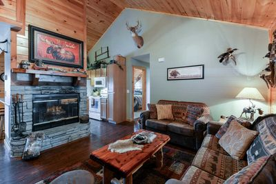 The spacious living area leaves plenty of room for everyone to spread out and relax.