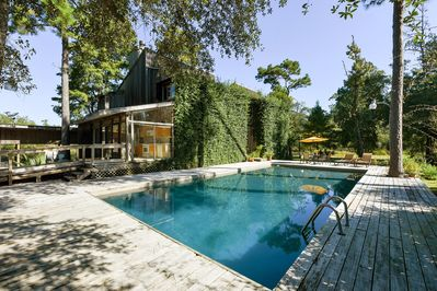 A forty-foot pool during warm months, 2 fireplaces for cooler weather