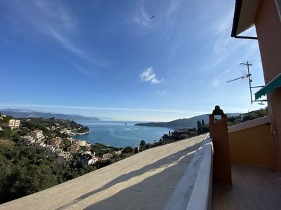 Photo for CaseMaggi Beach House Terrace overlooking Gulf of Poets and Palmaria Island