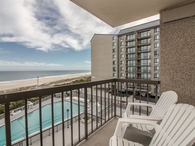 Photo for F405: 2BR+den Sea Colony oceanfront condo | Private beach, pools, tennis ...