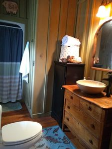 Bathroom with standing shower only.