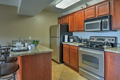 The fully equipped kitchen has everything you need to make tasty treats.