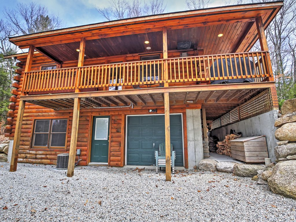 3br north conway log cabin w private hot tub north for New hampshire log cabins