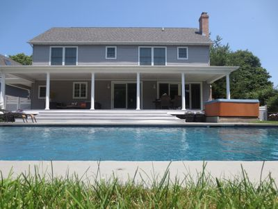 Photo for Family friendly Shelter Island Home w/ Pool, Hot Tub,  Walk to Beach