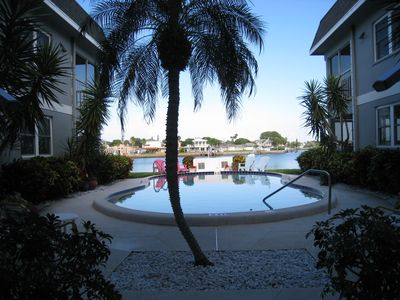 The pool and Intracoastal waterway beyond.