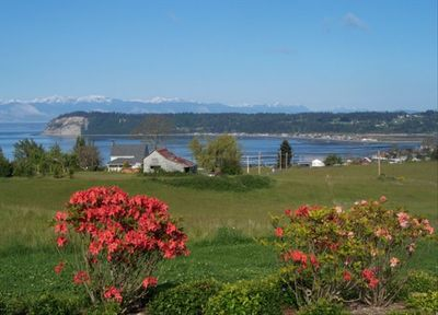 Double Bluff, Useless Bay, Olympic Mountains and West-side shipping lanes