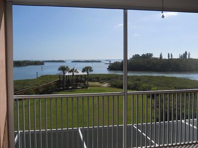 View from our screened lanai-one of the best views in Boca Vista Harbor!