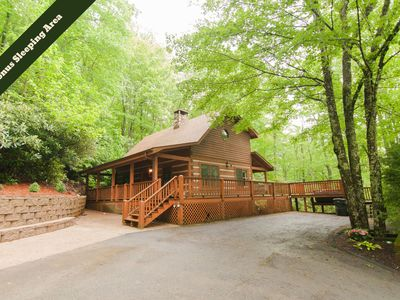 Photo for Hummingbird Hollow ~ Cozy log cabin on two acres of wooded privacy in Valle Crucis NC