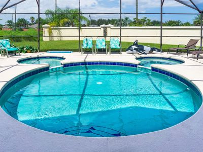 Photo for Family Villa-5 Bed, 4 Bath, Pool & Jacuzzi, 2.5 Miles from Disney