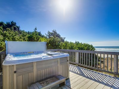 Photo for Comfy oceanfront home w/ private hot tub & beach access - dogs ok!