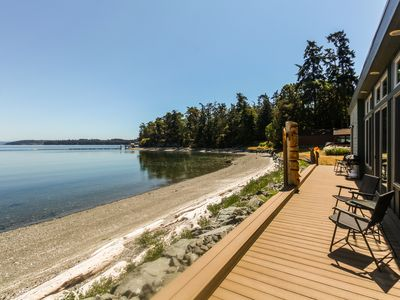 Photo for Contemporary waterfront home features beautiful views, near Penn Cove