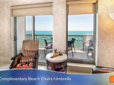 Photo for Complimentary Beach Umbrella & Chairs Included! 5 Star Luxury w 2 Master Bedrooms.