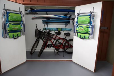 All the beach toys are included for usage:  Bikes, Chairs, Boogie & Surf boards.
