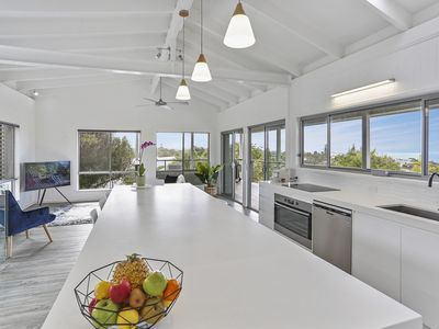 Photo for Modern beach house with commanding ocean views, private pool, walk to the beach