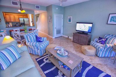 Living Area w/Flat Screen TV, Great Furniture and Scenic Patio View
