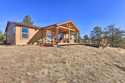 This modern hideaway is just minutes from the charming mountain town of Guffey.