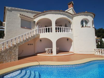 Photo for Holiday villa in quiet area, private pool, sea-view, Internet, air-condition