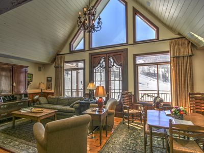 Photo for 7BR Ski Chalet on Slopes of Beech Mountain, Wall of Windows Overlooking Slopes, Hot Tub, Game Tables
